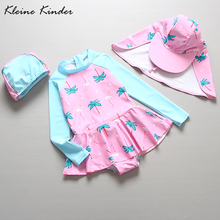 One-Piece Swimsuit Beach-Wear Bathing-Suits Long-Sleeve Kids Girls for with Cap Flamingo-Print