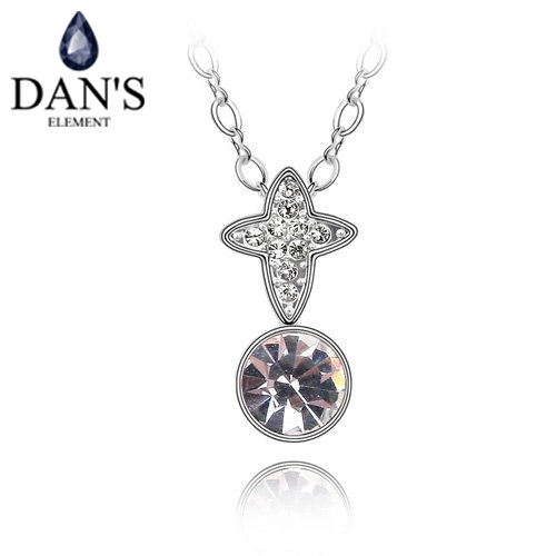 DAN'S ELEMENT New Sales Genuine Austria Crystal White Gold Color Star Pendant Necklace For Women Valentine's Gift 86809