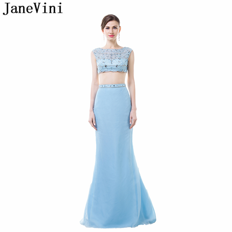 JaneVini Sexy Mermaid Long   Bridesmaid     Dresses   2018 Scoop Neck Tulle Sequined Beaded Floor Length Two Piece Prom   Dress   Plus Size