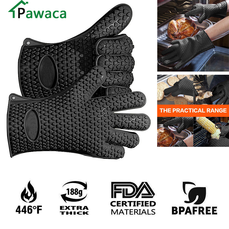 Food Grade Heat Resistant Thick Silicone Kitchen Barbecue Oven Glove Cooking BBQ Grill Glove Oven Mitt
