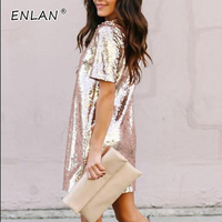 Black Rose Gold Sequin Dress 2019 Summer New Year Glitter Dress Short Sleeves Elegant Casual Club Party Dresses Women Evening