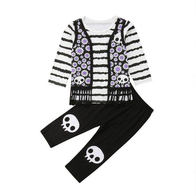 60da3960d Halloween Toddler Kids Baby Girl Long Sleeve Striped T-shirt Floral Tassel  Shirt Tops+