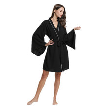 Daeyard Silk Satin Solid Kimono Robe Long Sleeve Sleepwear Women Spring Summer Sexy Dressing Gown Bathrobe Nighty Homewear