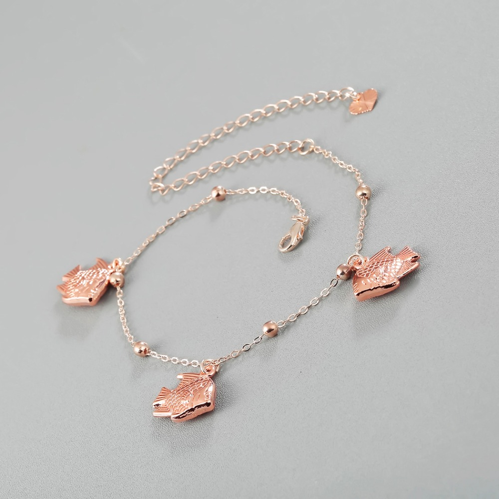 Kinitial New Fashion Anklet Accessories Women's Sexy Fish Dangle Chain Ankle Bracelet Anklet Foot Rose Gold Jewelry 2