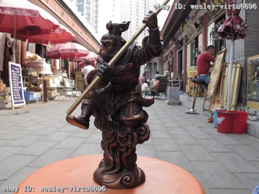 10 Chinese Fine Folk Myth Red Bronze Monkey King Sun wu kong saint Buddha Statue