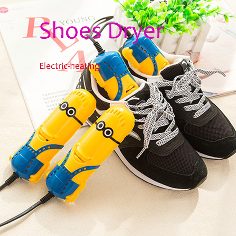 220V 10W EU Lovely Minions shape shoe dryer foot protector boot odor Deodorant device shoes drier heater us007 deodorant sterilization shoes dryer drying disinfector in disinfection beriberi foot odor shoe dryer 100 240v 50 60hz