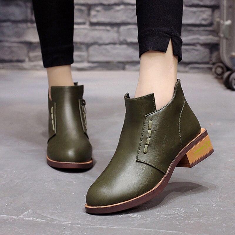 Green 6748 army Femmes marron Pu Talons D'hiver Bottines Chaussures Dames Mujer Noir Noir Bottes La Zipper Taille Bas Cheville En Cuir Plus Femme Botas 9WHED2I
