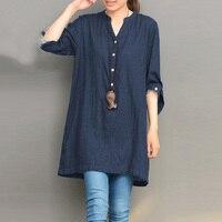 2018 Women Autumn Buttons V Neck Long Sleeve Cotton Linen Loose Solid Pullover Denim Blue Shirt
