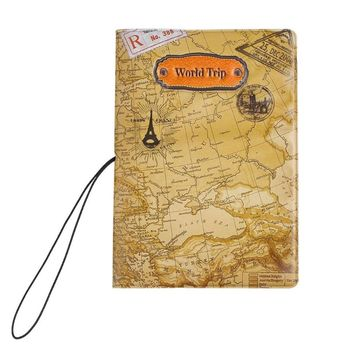 New World Trip Map Travel Passport Covers for Men , PVC Leather ID Card Bag Passport holder Passport Wallets 14*9.6cm Travel Accessories