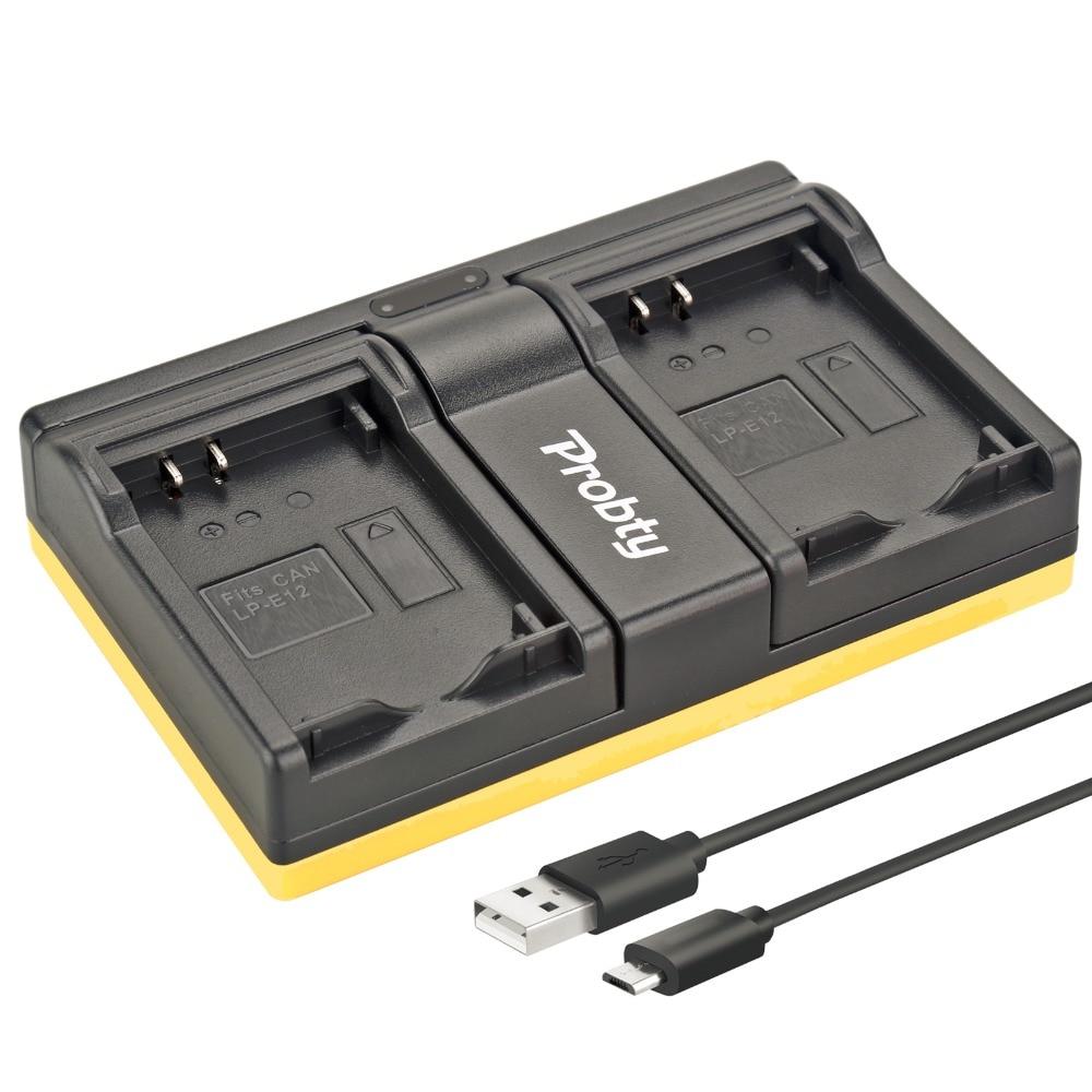 Probty LP-E12 LP E12 cargador dual USB para Canon EOS M M2 100D eosm EOSM2 beso X7