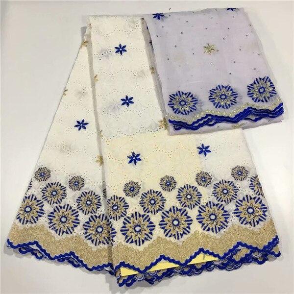 Ensemble de mariage/fête populaire tissu de dentelle de coton africain avec 2y tissu de voile suisse CCV12 (5 + 2y)