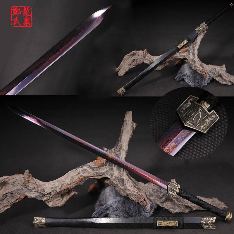 Chinese Sword Double Edges Blade Real Folded Steel Red Plating Surface Sharp Rose Wood Sheath Home