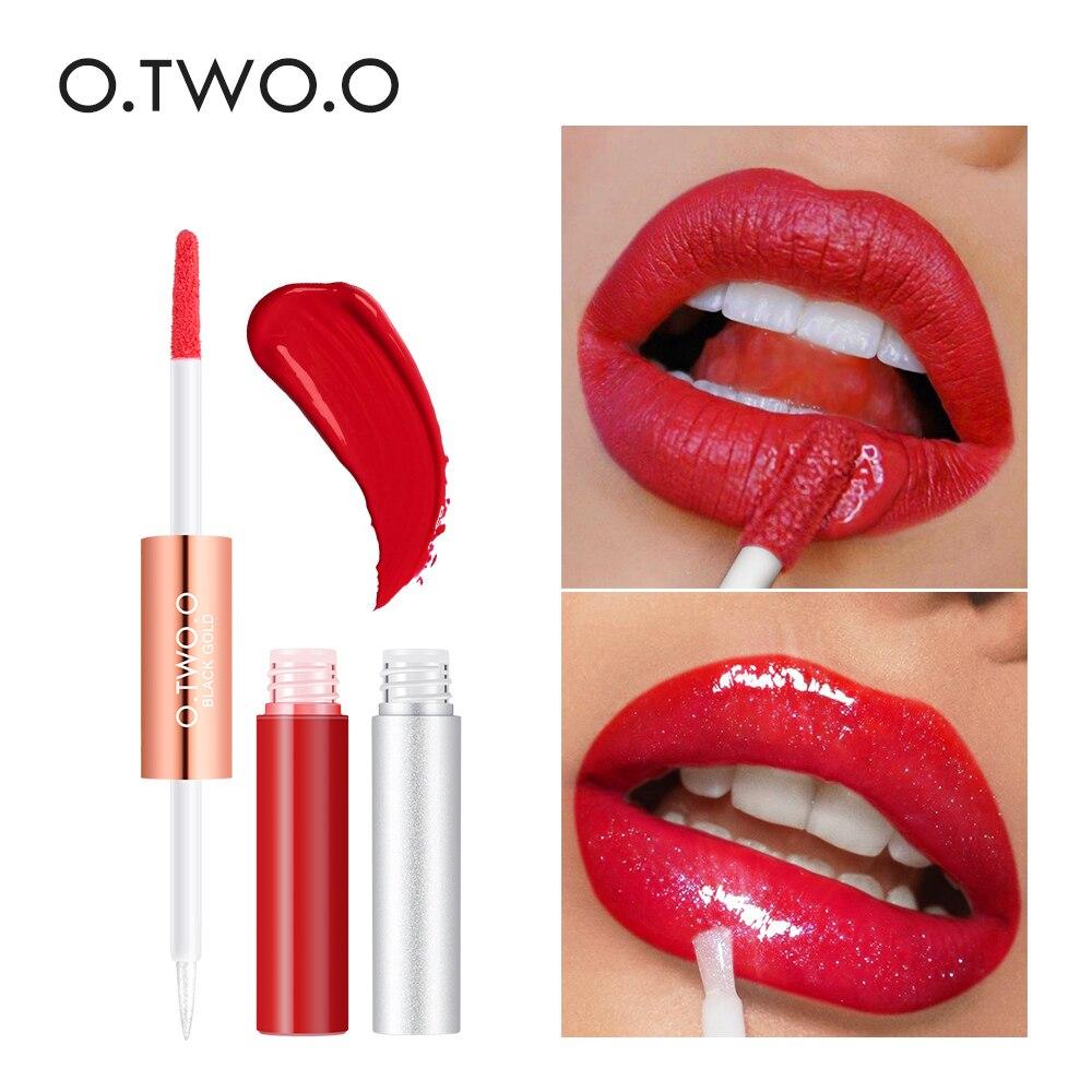 O.TWO.O 2 in 1 Matte Glitter Lipgloss Lip Gloss Set Velvet Lip Tint Moisturizer Long Lasting Shine Shimmer Liquid Lipstick