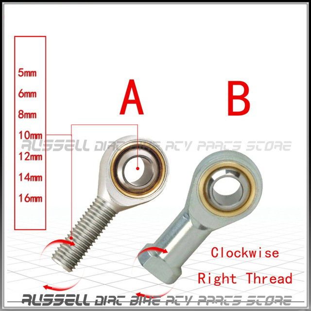 6mm 8mm 10mm 12mm 14mm 16mm Steering TrackRod Ball Tie Rod Turn hole U-Joint end For Go kart Clockwise direction Right Thread
