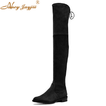 Nancyjayjii Women New Black Suede Over-the-Knee Flat Heels Round Toe Cross Strap End Comfortable Knight Boots Woman Thighland