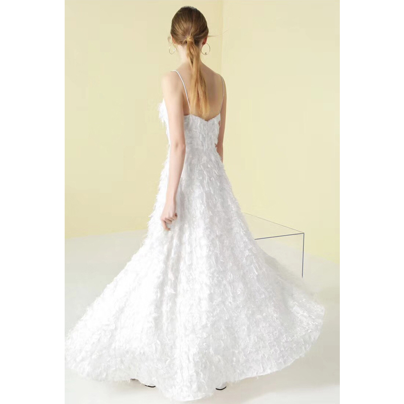Summer Women Dress 2018 New Fashion White Feather Spaghetti Strap ...