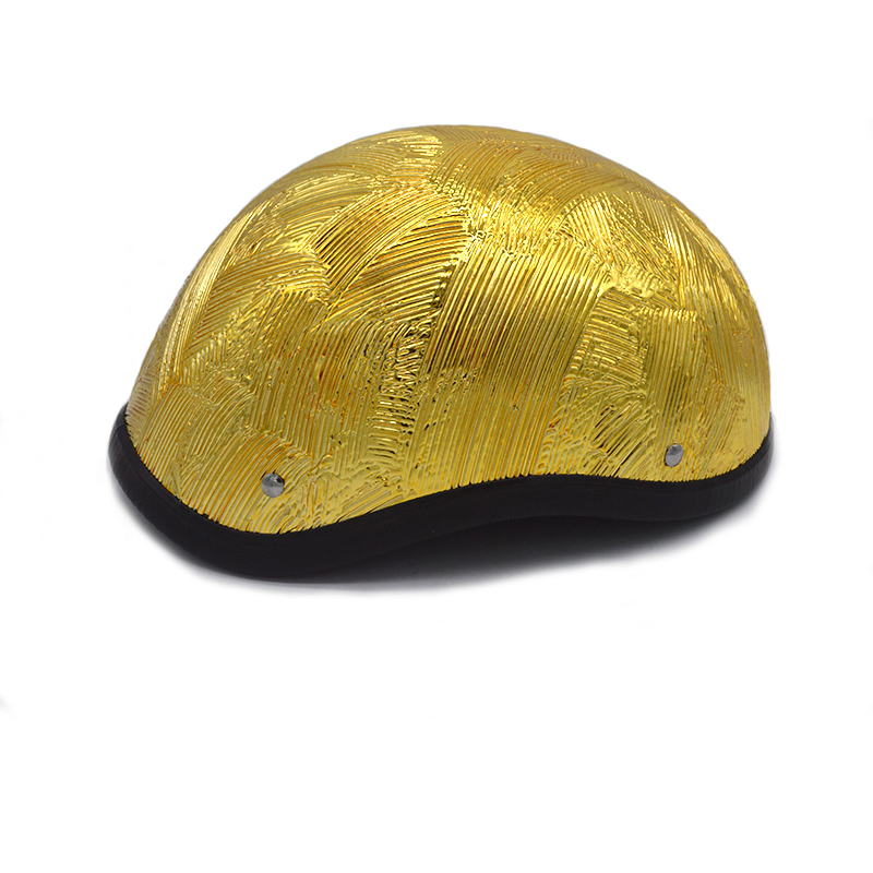 Evomosa Free Size Golden Fiberglass Retro Army Style Motorcycle Helmet Motocross Capacete Half Helmet extremely light weight vintage helmet fiberglass shell free style novelty helmet japan style no more mushroon head