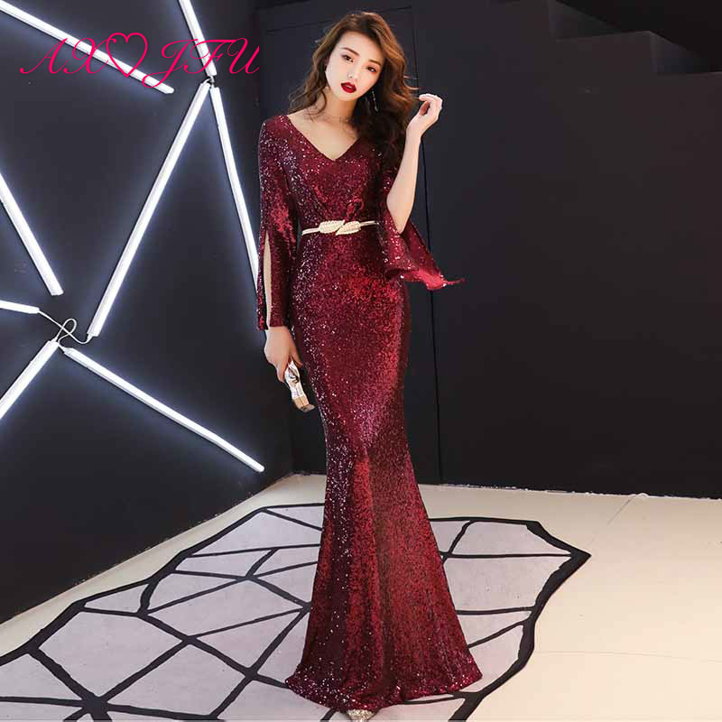 AXJFU princess wine red sparky mermaid   evening     dress   party vintage v neck long flare sleeve stage host black   evening     dress