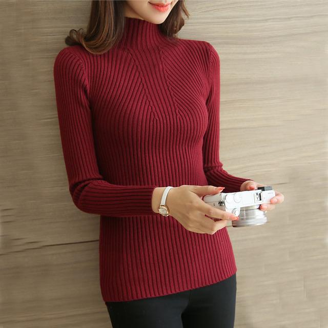 Poleras de mujer malha t shirt mulheres camiseta de algodão t-shirt de manga comprida gola camiseta femme camisetas femininas 2016