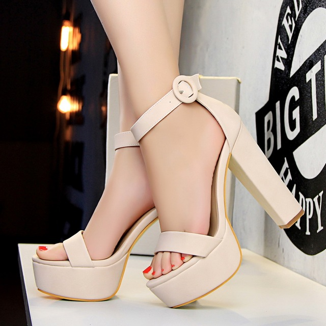 7225e35cf684 Platform Heels For Women High Heels Flocking Pumps Woman Platform Sandals  Extreme High Heels 14cmRed Ankle