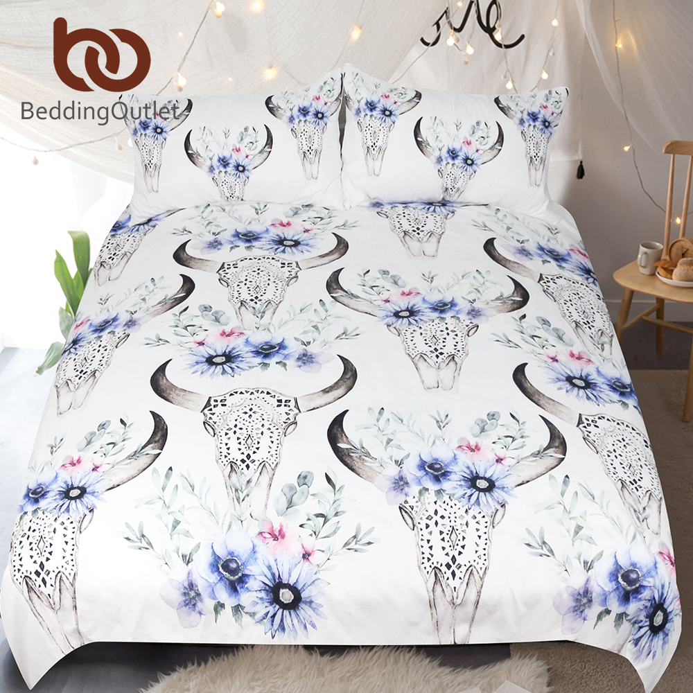 BeddingOutlet Tribal Skull Bedding Set Floral Printed Duvet Cover With Pillowcases Boho Bedclothes Queen Home Textiles For Woman