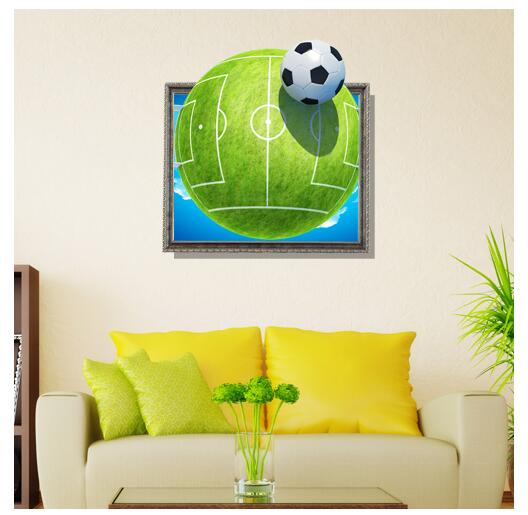 Bedroom Art Drawing Bedroom Wallpaper Price Colour Combination For Bedroom Asian Paints Boys Blue Bedroom Ideas: 3D Wall Stickers Football Field Painting Kid's Room