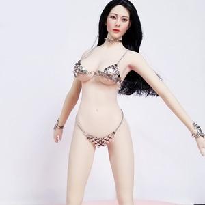 Image 5 - Ropa femenina a escala 1/6, ropa interior Sexy con sujetador, conjunto de Bikini para muñecas de acción de pecho grande/mediano de 12 pulgadas