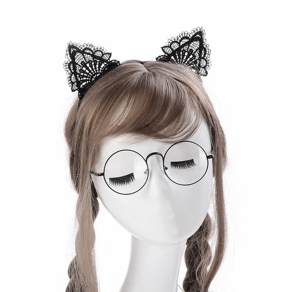 ผู้หญิง Hairband เซ็กซี่แมวหูลูกไม้น่ารักหัวเครื่องประดับผม Holiday Headband อุปกรณ์เสริมผม Hoop