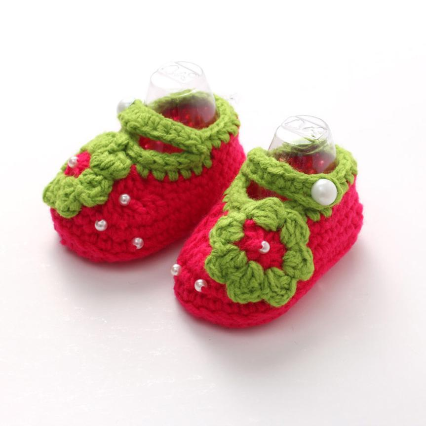 ARLONEET Baby Shoes Girl Boy Soft Crochet Handmade Knit Shoes 2018 kids cute Flower Sole Walking Shoes for baby