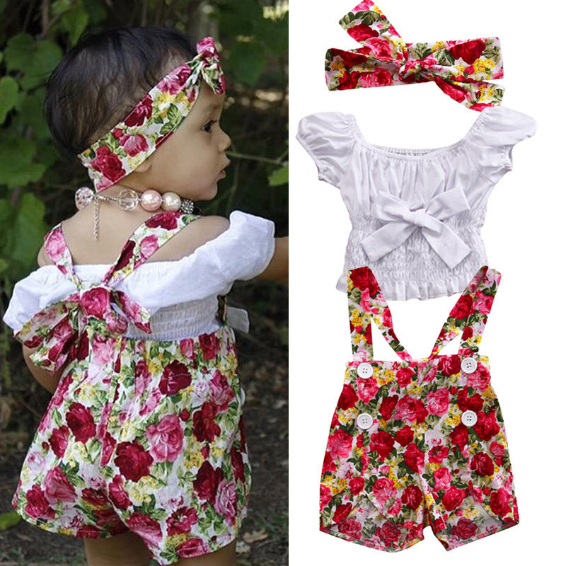 3PCS Set Toddler Kids Baby Girl Clothes Floral Top T Shirt Braces Skirt Outfits