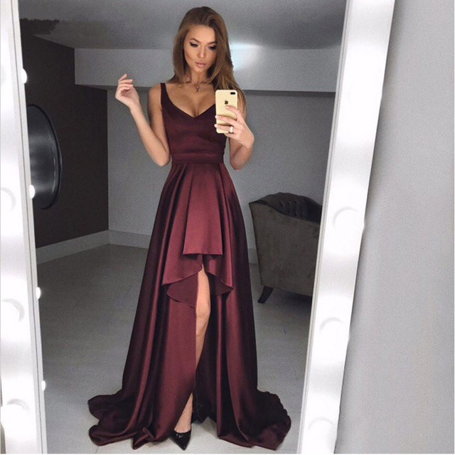 Robe de soiree Sexy V Neck Burgundy   Evening     Dresses   2019 Pleated Satin Hi-low Prom   Dress   Formal Party Gowns