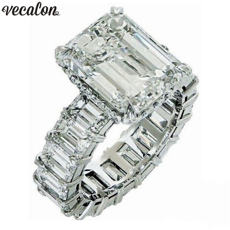 Vecalon 2019 princesa do vintage anel de corte 925 prata esterlina 6ct aaaaa cz noivado casamento anéis banda para mulher dedo jóias