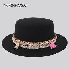 Bohemian Tassel Fedora Women Wool Bowler Hat Ladies Red Church Hats Felt for Woman Trilby Wholesale WH707