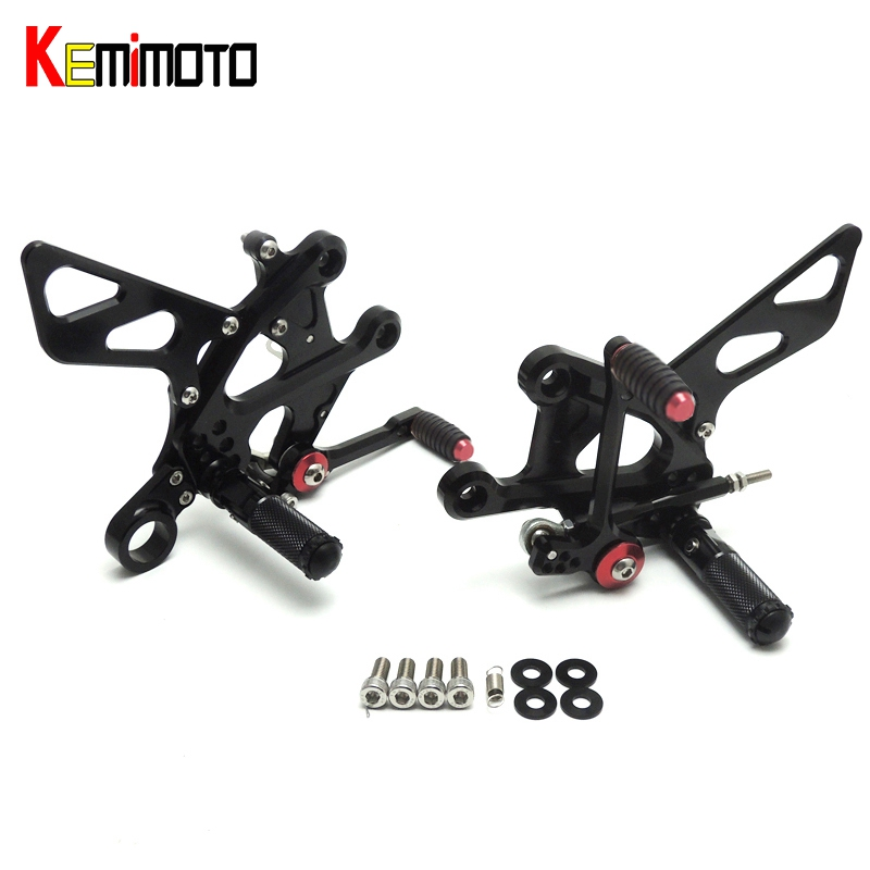 KEMiMOTO 2015 2016 GSX S1000 F CNC Aluminum Footrest Adjustable Rearset Rear Set For SUZUKI GSX