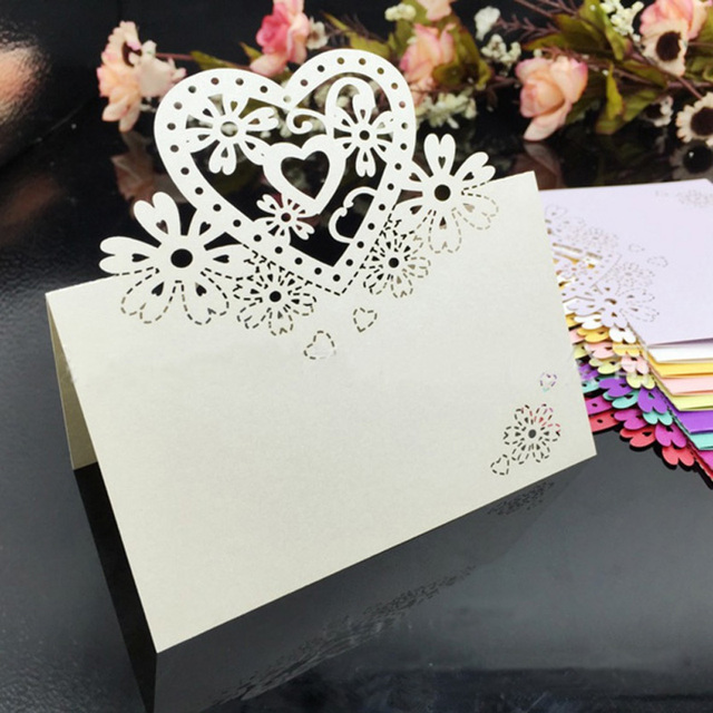 CDP006 Laser Cut Place Card Customized Hollow Heart Wholesale Wedding Decorations Party Supplies Cards Table