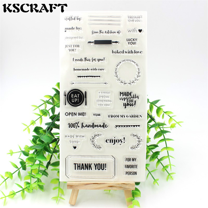 KSCRAFT 1 Sheet Thank You Transparent Clear Silicone Stamps for DIY Scrapbooking/Card Making/Kids Fun Decoration Supplies kscraft butterfly and insects transparent clear silicone stamps for diy scrapbooking card making kids fun decoration supplies