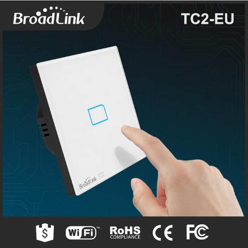 Broadlink TC2 Wifi Switch Wireless 1Gang Smart Home Remote Control Wall Light Touch Screen Switch IR+RF via pro EU Standard smart home uk standard crystal glass panel wireless remote control 1 gang 1 way wall touch switch screen light switch ac 220v