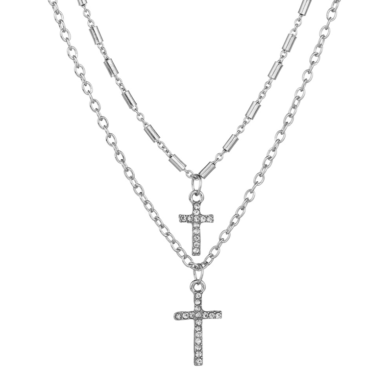 NIUYITID Religion Double Layer Chain With Cross Crystal Pendant Necklace Jesus Men Women Jewelry collier femme 2019 (7)