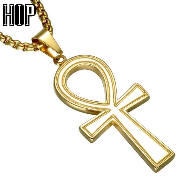 c074beaca7eb HIP del acero inoxidable egipcio Ankh Cruz colgante collares con 60 cm oro  Color cadena colgantes