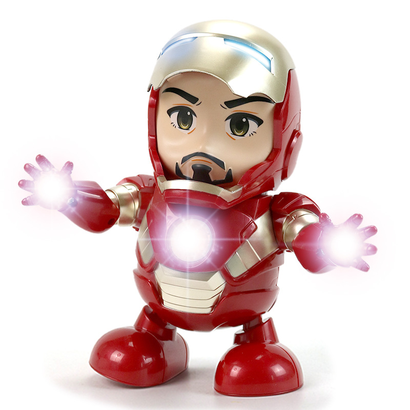 Electronic Toys Can Dance Iron Man Marvel Avengers Movie Figure Toy With Flashlight And Light Sound Music Robot Iron Man Hero
