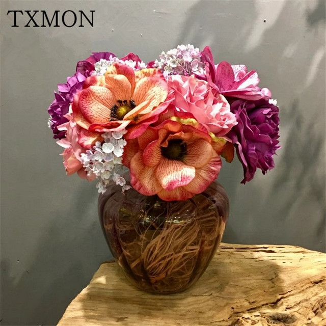 Beautiful korean high end bouquet of anemone simulation silk flower beautiful korean high end bouquet of anemone simulation silk flower holiday home living room hotel mightylinksfo