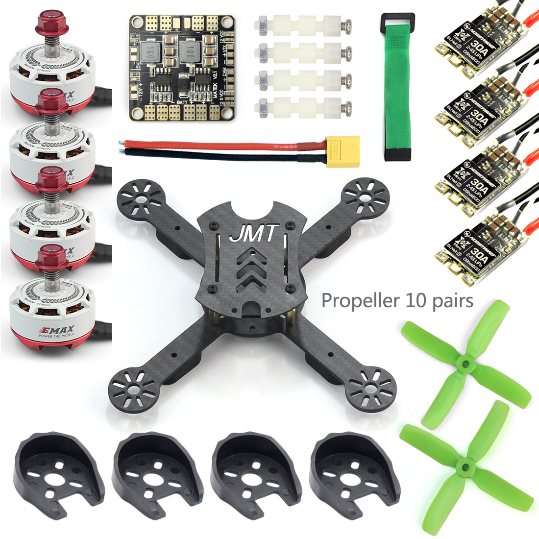JMT X180 DIY Racing Drone Quadcopter Combo Frame w/ EMAX RS2306 2750KV 2400KV Brushless Motor + BLHeli-s 30A / 4in1 20A 12A ESC fpv mini drone diy zmr250 h250 quadcopter frame kit with mt1806 2280kv motor emax simon k blheli 12a esc cc3d fight control