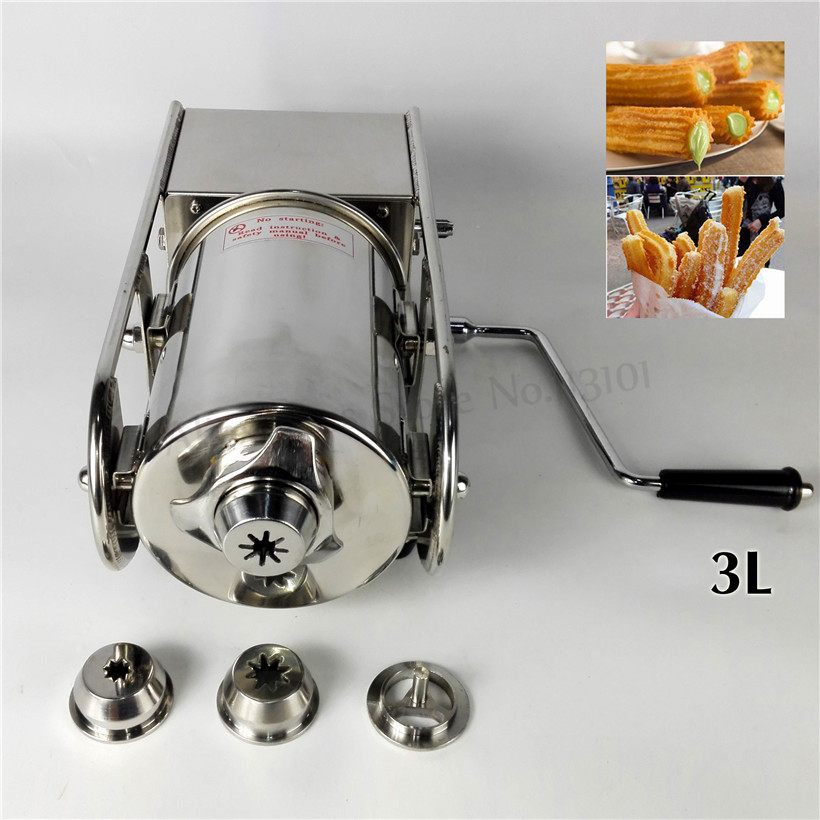 Horizontal 3L Sausage Stuffer Stainless Steel Sausage Maker Meat Filling Machine Spanish Churros Maker Household/Commercial
