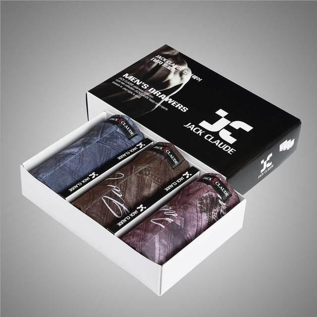 2017 hot brand 3 unidades boxers underwear boxeador modal de los hombres cómodos de los hombres baratos al por mayor ropa de dormir patrón de mezclilla l-xxxl
