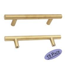 Goldenwarm Stainless Steel Gold Drawer Pulls 128 mm kitchen cabinet pulls Round Bar Cupboard Door Knobs  15PCS