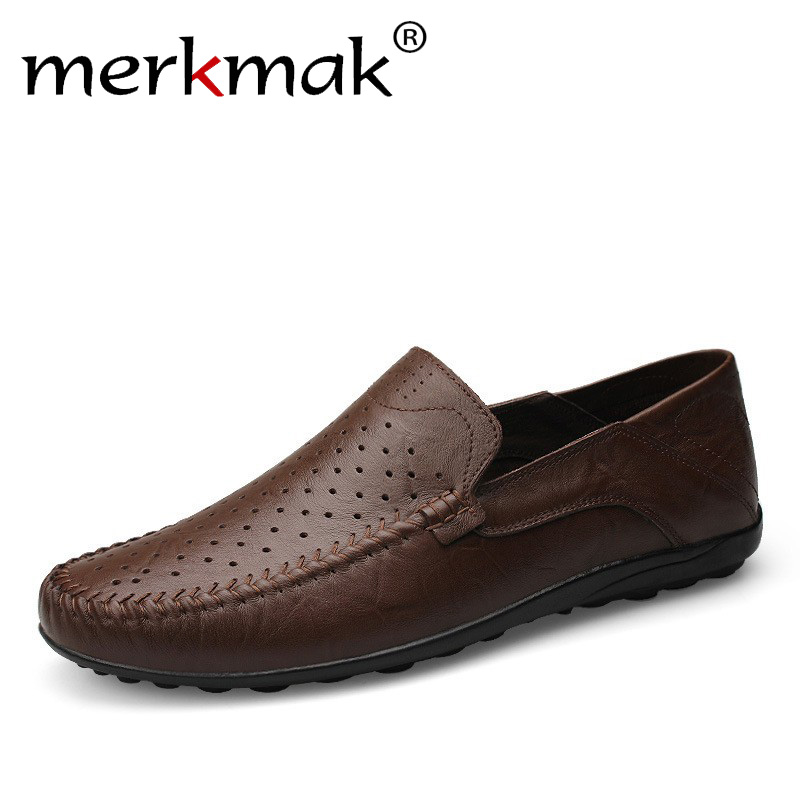 Big Size New Summer Handmade Genuine Leather Men Loafers Soft Leather Men Driving Moccasins Brand Men Casual Shoes Slip On Flats genuine leather men casual shoes summer loafers breathable soft driving men s handmade chaussure homme net surface party loafers