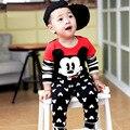 Bahías bebé Que Arropan el sistema de Dibujos Animados de Mickey Imprimir Otoño de Algodón de Moda Infantil Trajes Niñas Ropa Niños Chándal Outfit Set