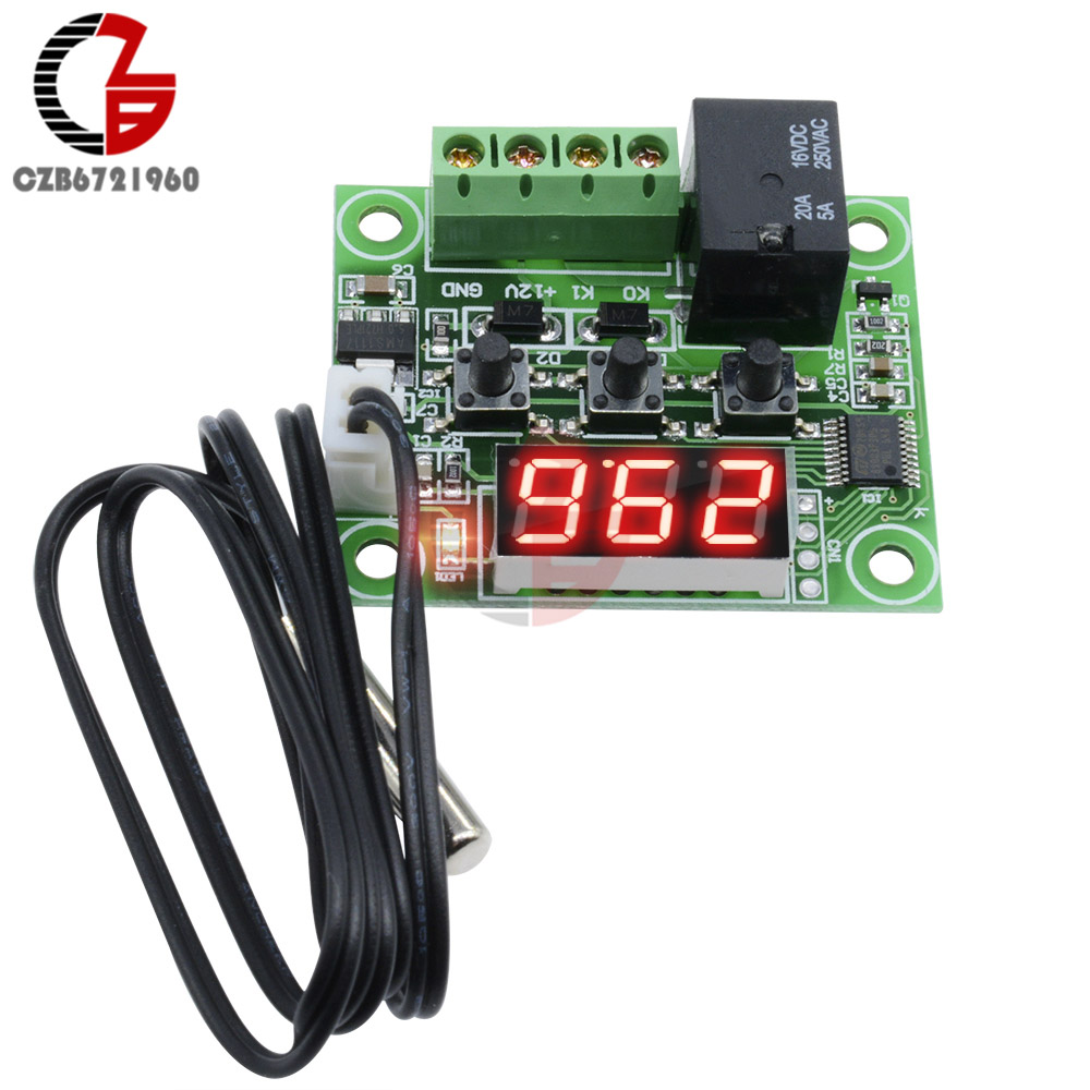 W1209 LED Digital Thermostat Temperature Controller Thermometer Control Switch Module DC 12V NTC Sensor Relay Weather Station