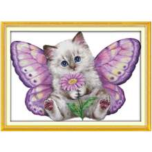 14/16/18/27/28 The Butterfly Cat Patterns Counted Cross Stitch Set Wholesale Cross-stitch Kit Embroidery Needlework(China)