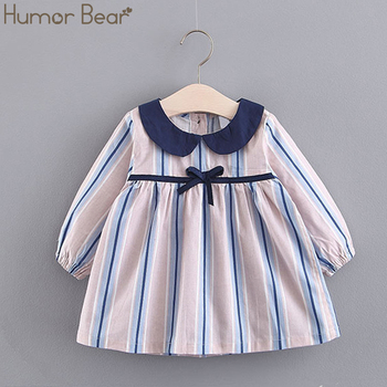 Humor Bear Girls Dress 2019 Children's Clothing New Spring Fashion Striped Princess Dress Female Baby Bow Dress Baby Clothing
